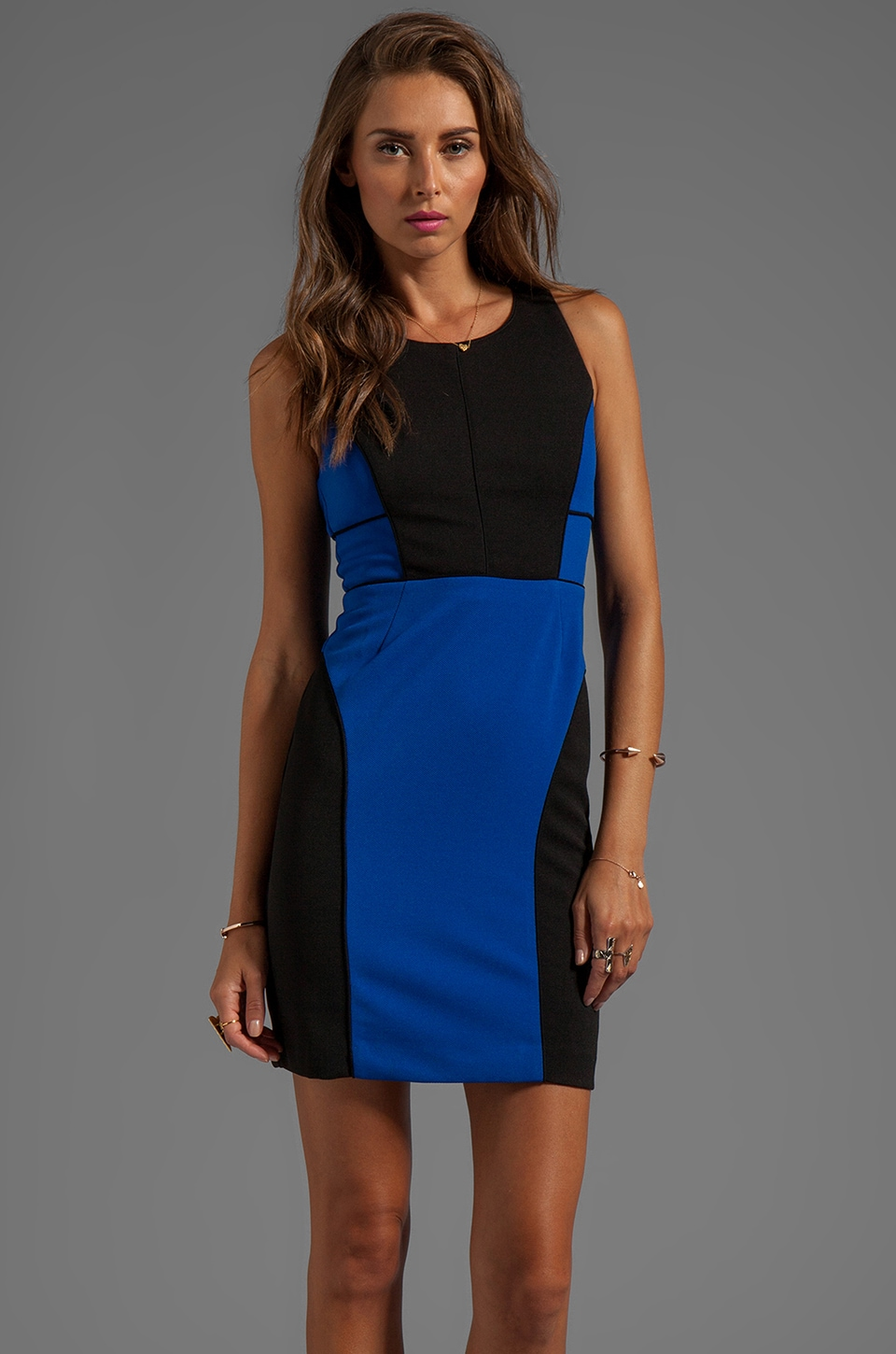 Greylin Angelina Color Blocked Dress in Blue