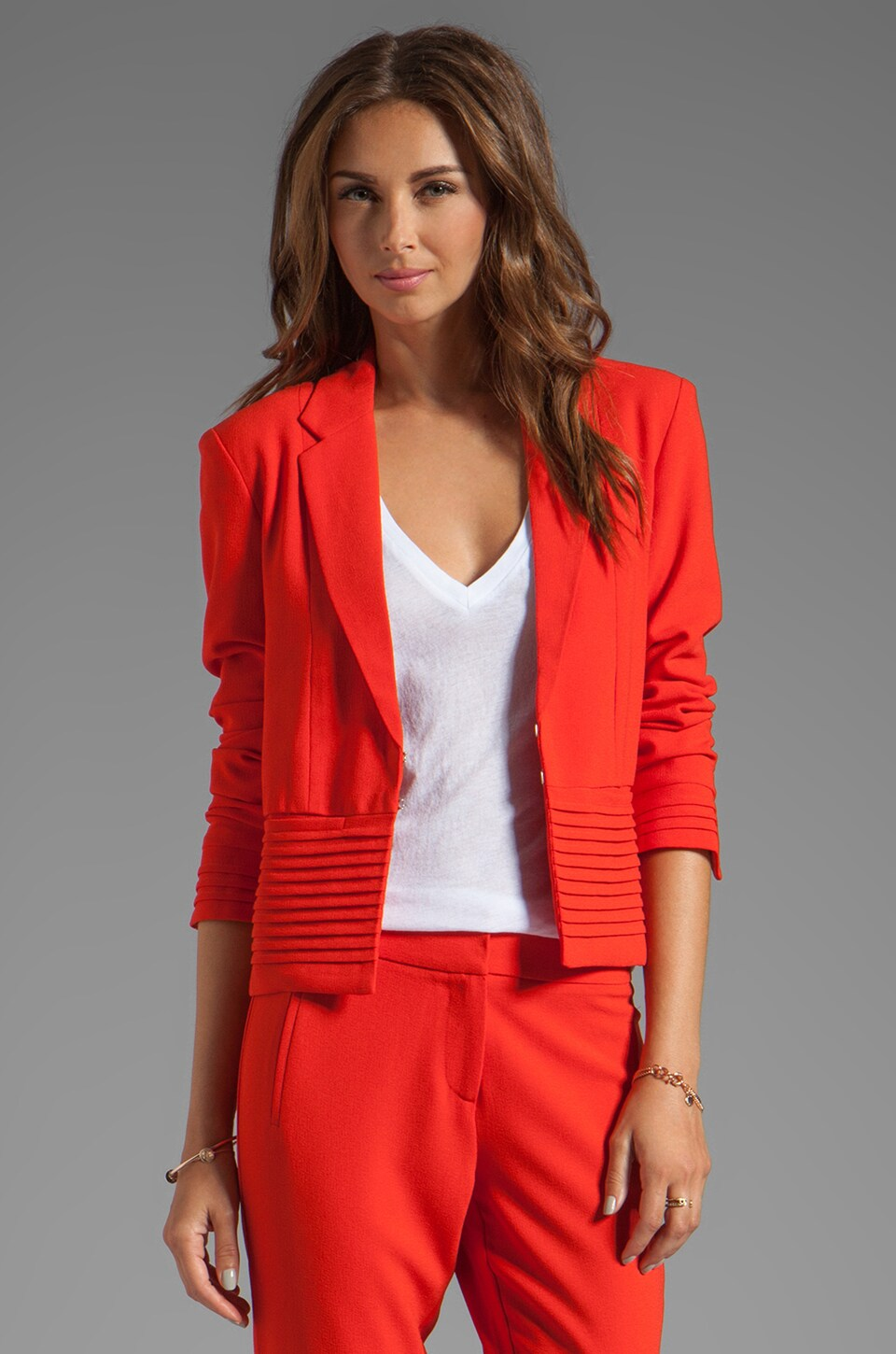 Greylin Clinton Pleat Blazer in Tomato