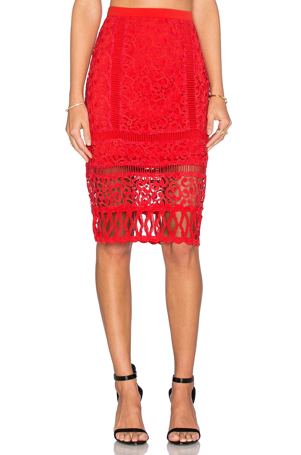 Greylin Melrose Lace Pencil Skirt in Hibiscus