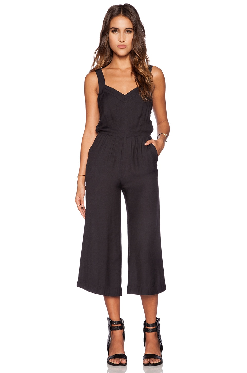 Greylin Cece Sweetheart Cullote Jumpsuit in Black