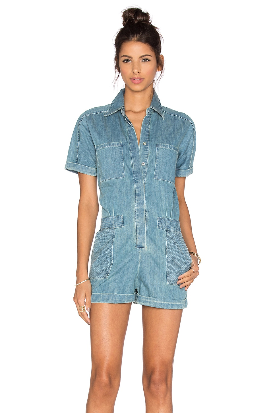 Greylin Lia Denim Romper in Chambray