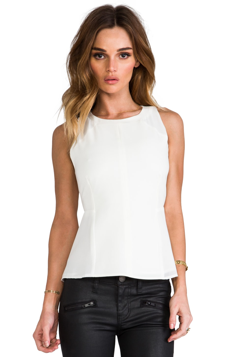 Greylin Marcia Tonal Blocked Top in White