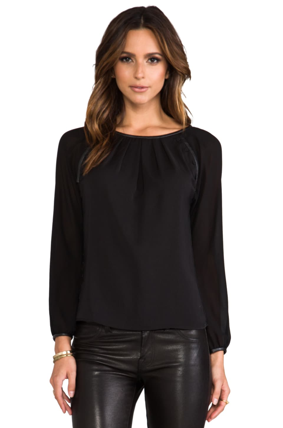 Greylin Genevieve Button Trim Top in Black