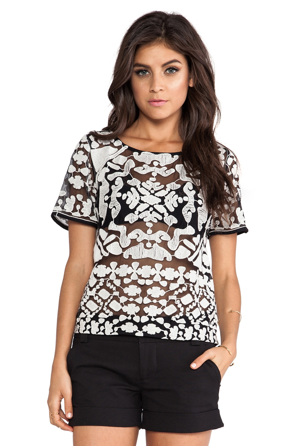 Greylin Chloe Embroidered Top in Black