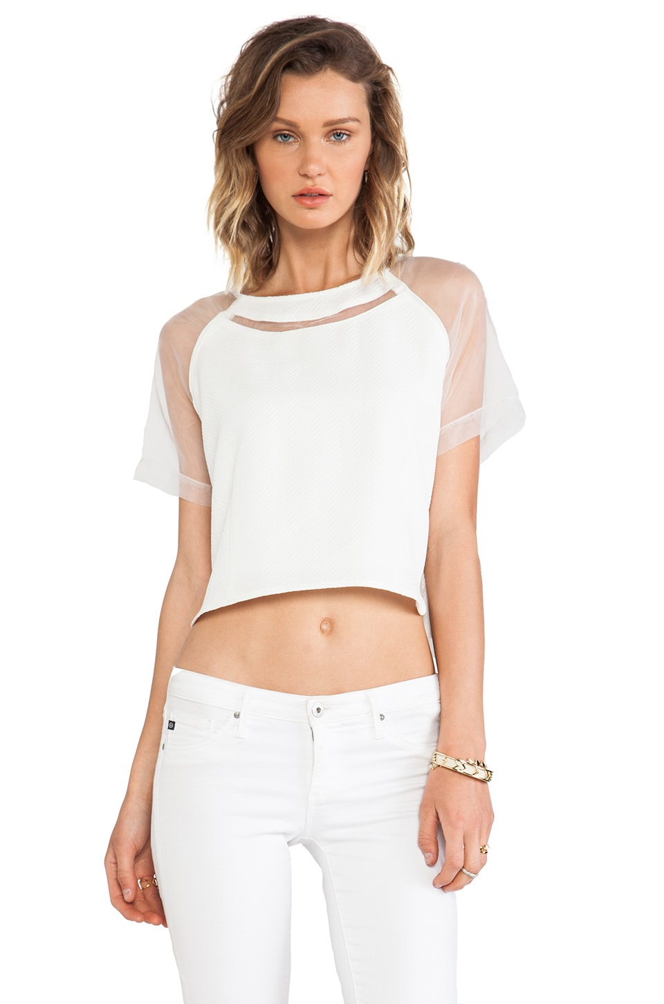 Greylin Aimee Cropped Top in White