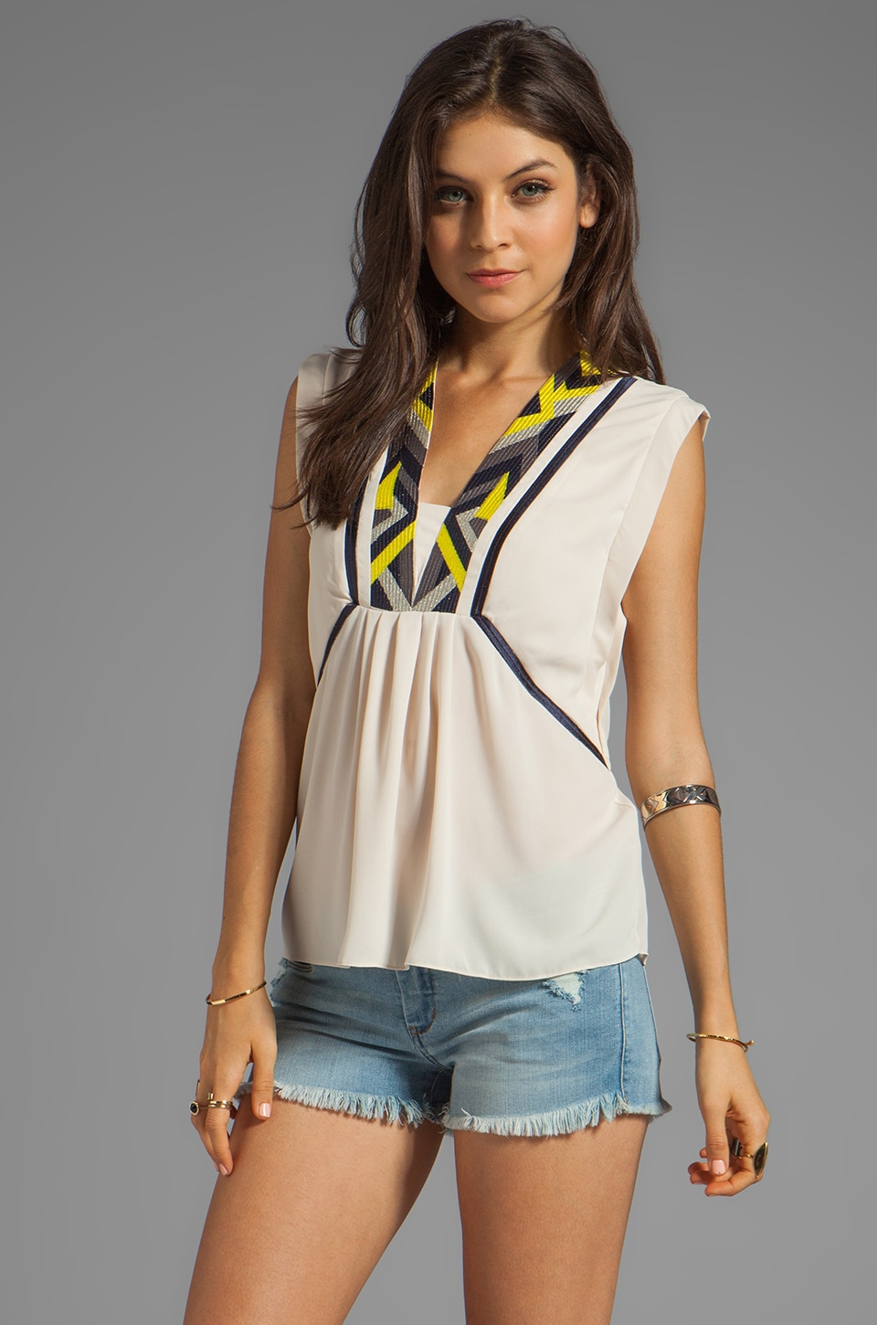 Greylin Amanda Embroidered Top in Ivory
