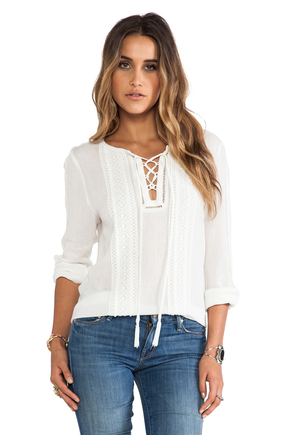 Greylin Roseli Lace Trim Blouse in White