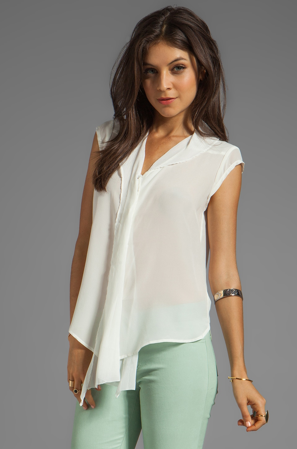 Greylin Denise Silk Top in Ivory