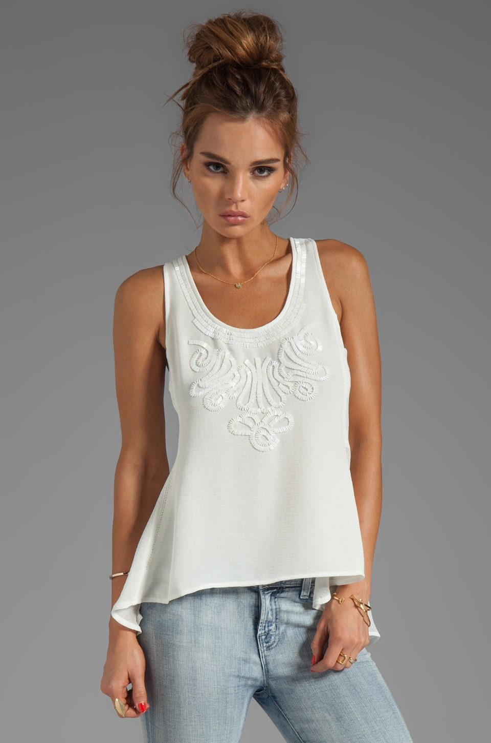 Greylin Lucy Beaded Tank in White