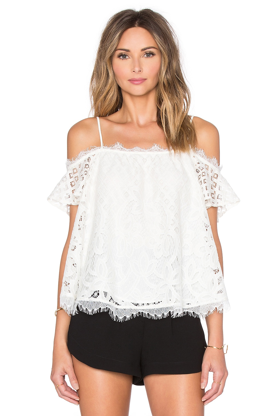 Greylin Cassis Lace Off Shoulder Top in Ivory