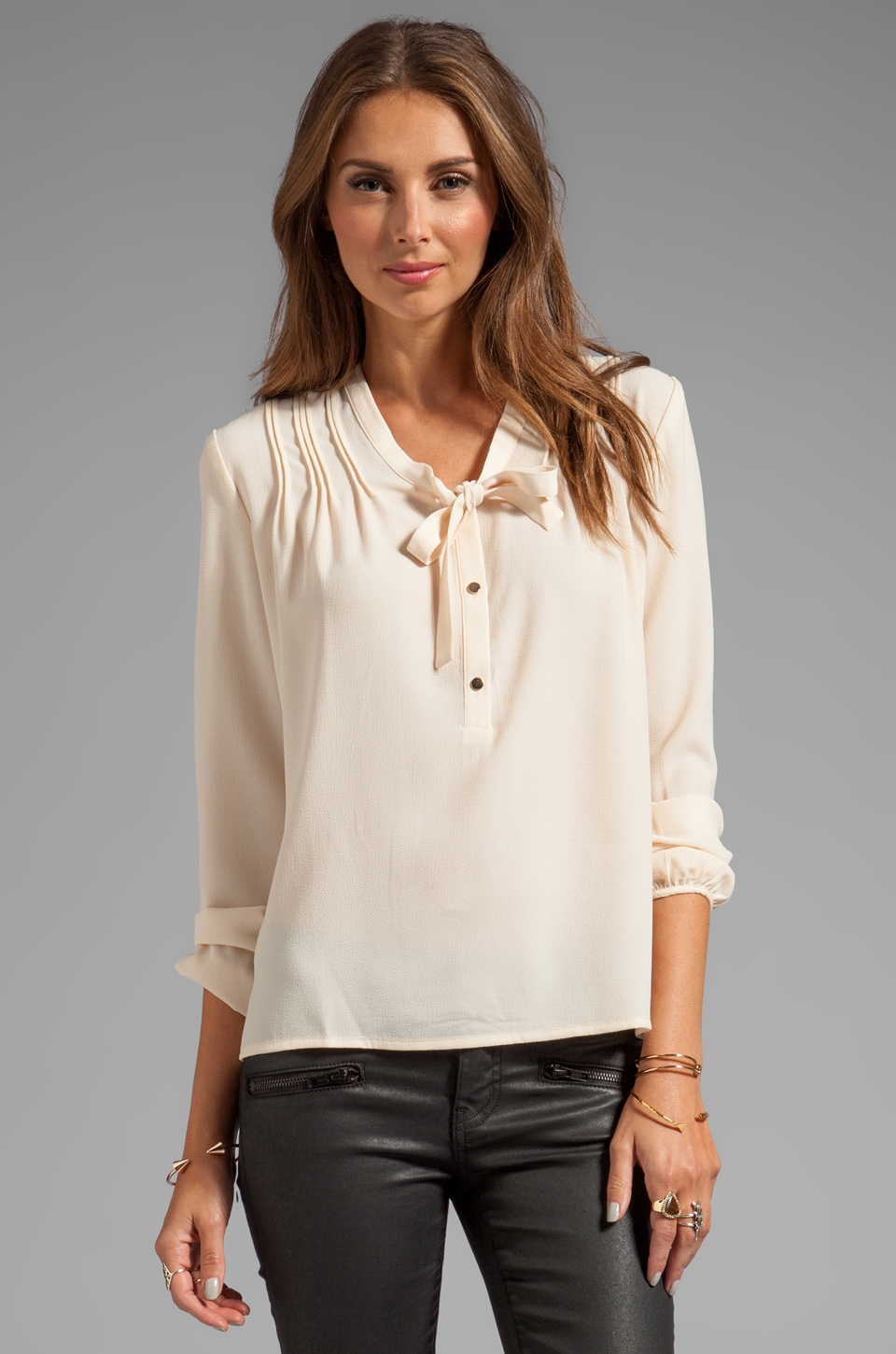 Greylin Emerie Tie Blouse in Ivory
