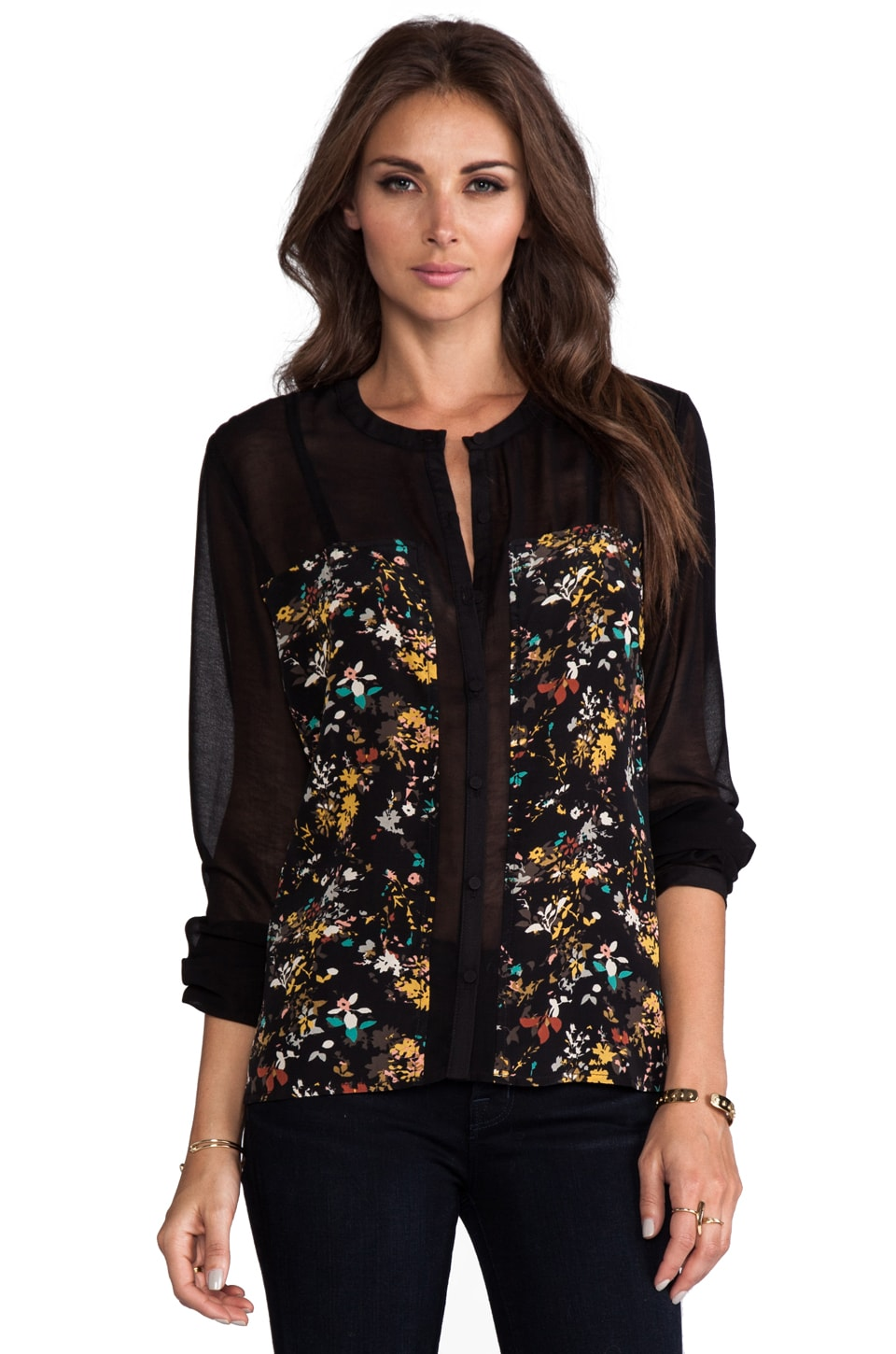 Greylin Adrien Long Sleeve Blouse in Black