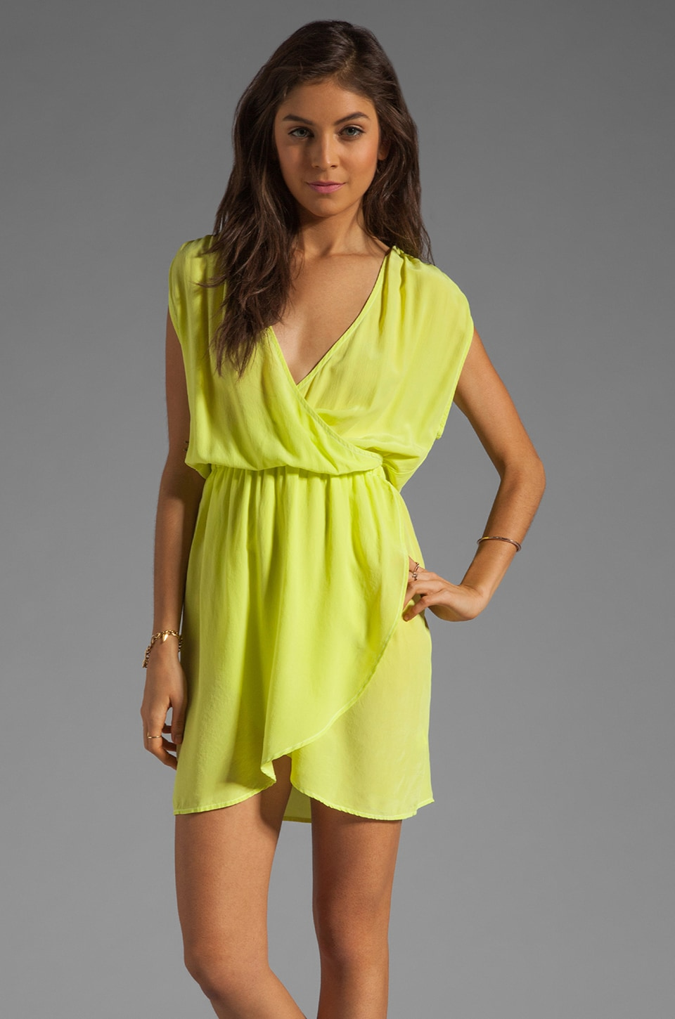 Gypsy 05 Sarah Wrap Mini Dress in Lime