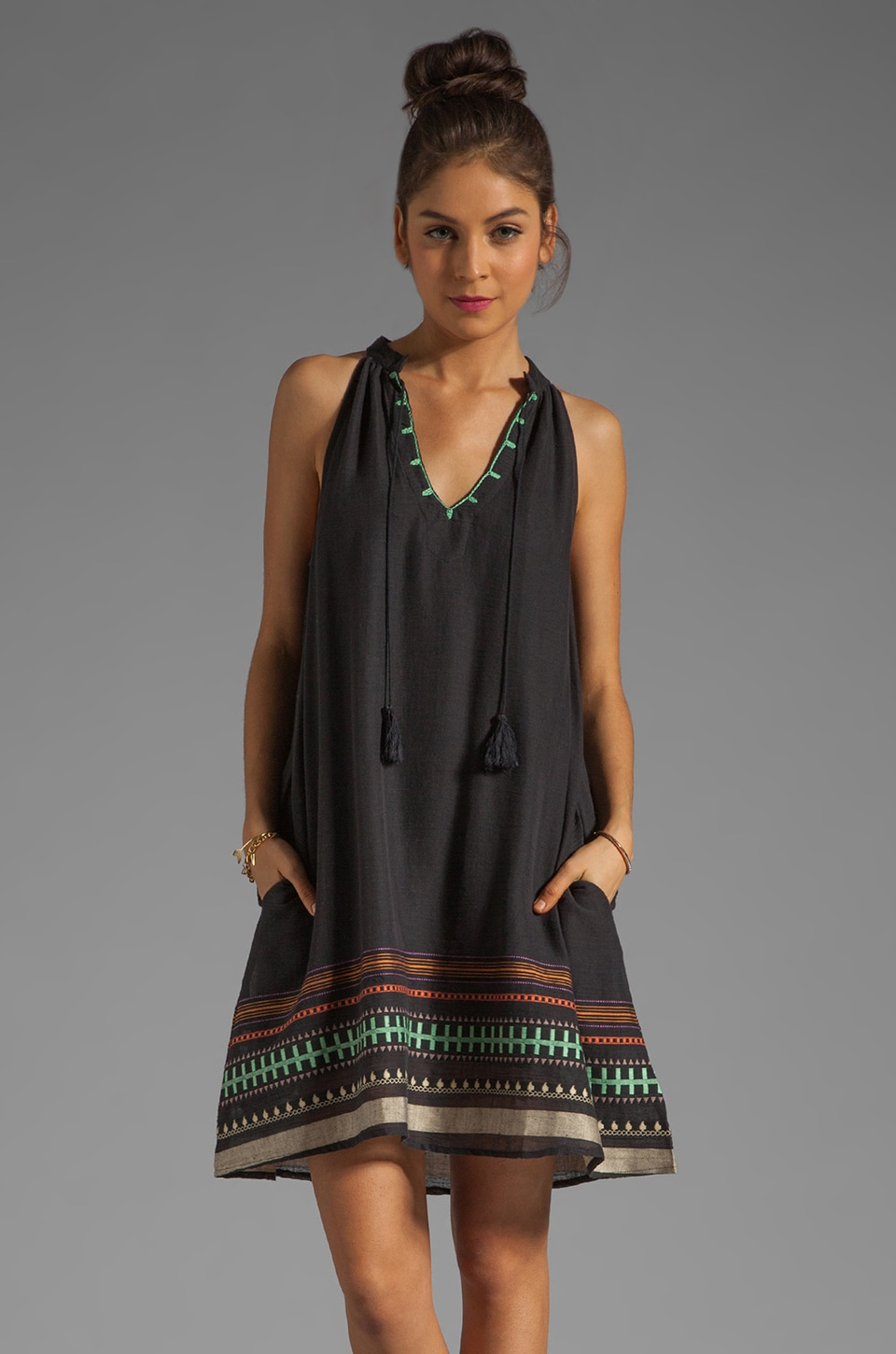 Gypsy 05 Goa Global Village High Neck Tunic in Black