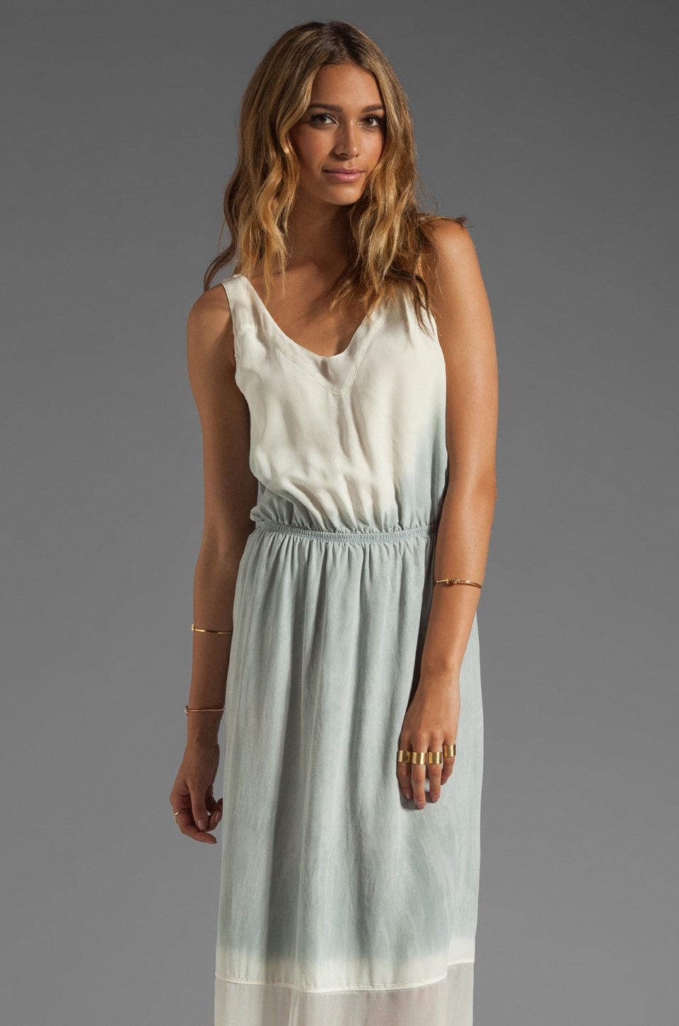 Gypsy 05 Miyoshi Silk V-Tank Maxi Dress in Stone/Cream