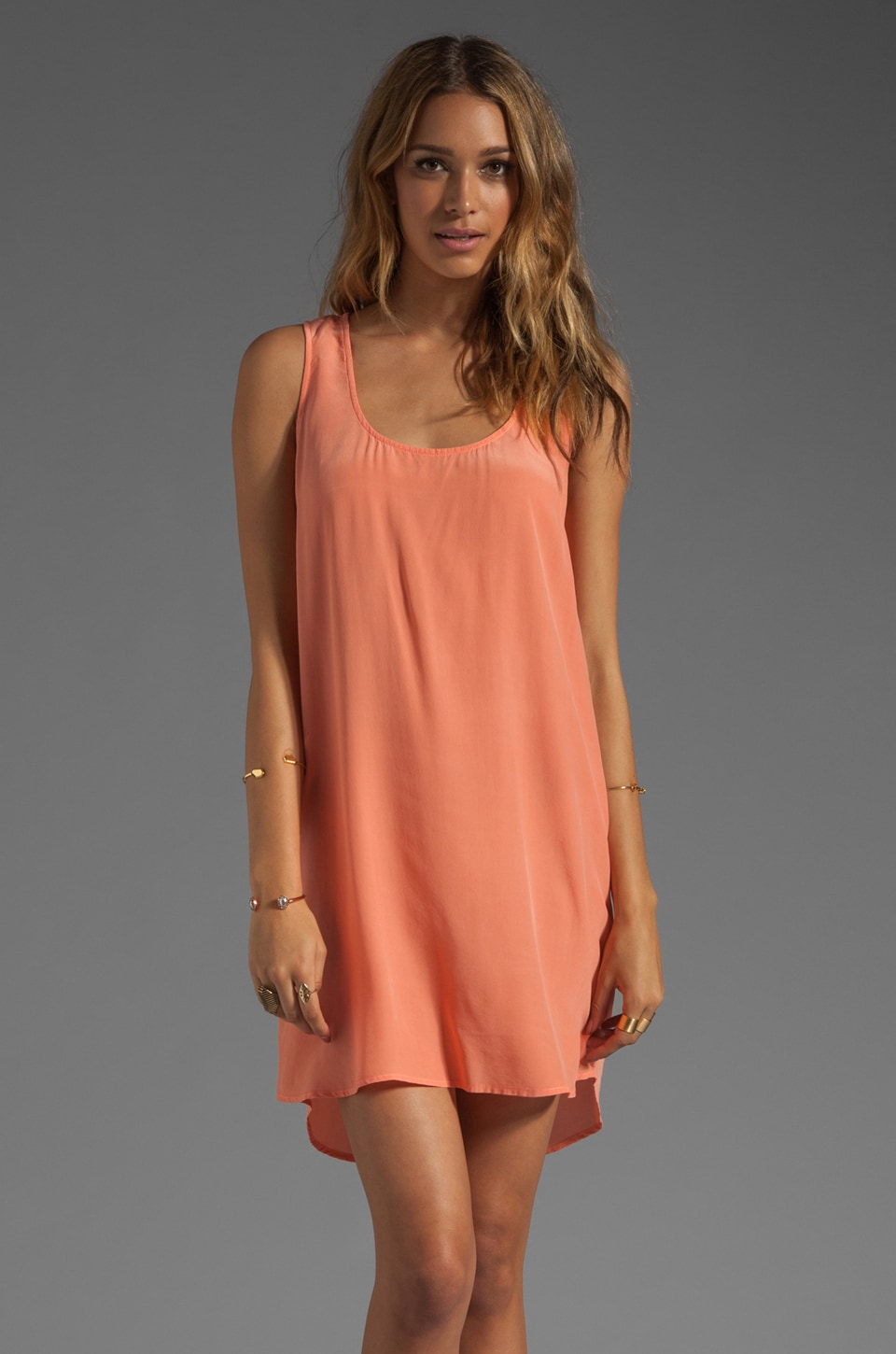Gypsy 05 Miyoshi Silk Open Back Tunic Dress in Salmon