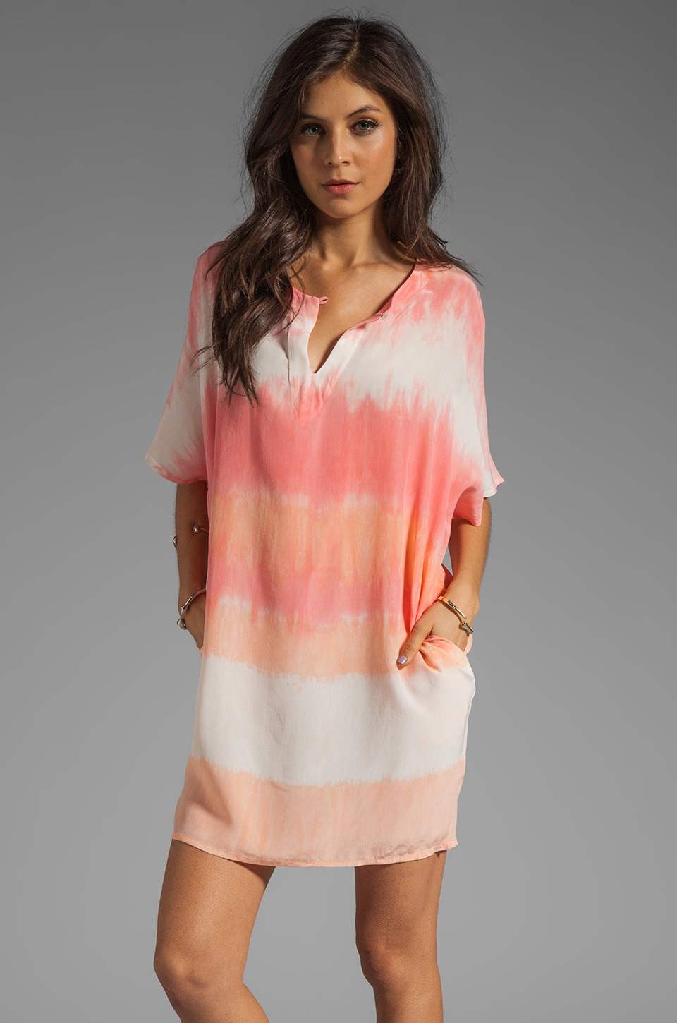 Gypsy 05 Hampton Silk Split Neck Dolman Sleeve Tunic Dress in Sherbet