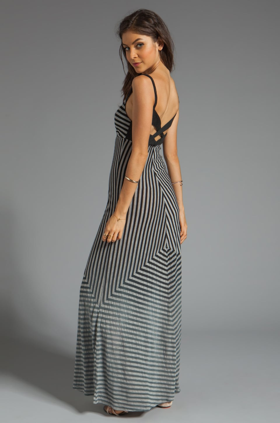 Gypsy 05 Cabarete Jersey Stripe Knit Maxi Dress in Noir