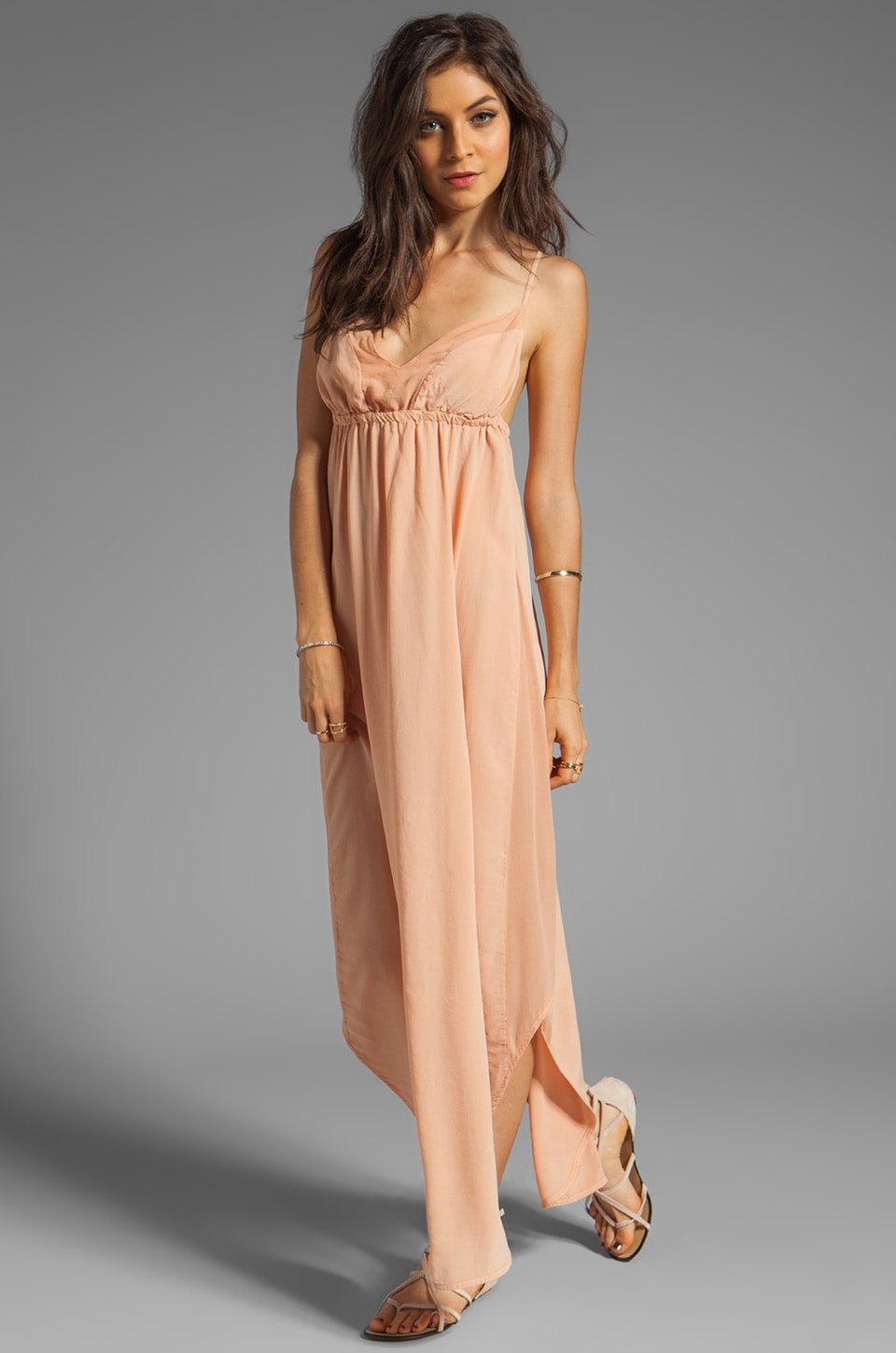 Gypsy 05 Punta Cana Silk V-Bottom Maxi Dress in Dusty Peach
