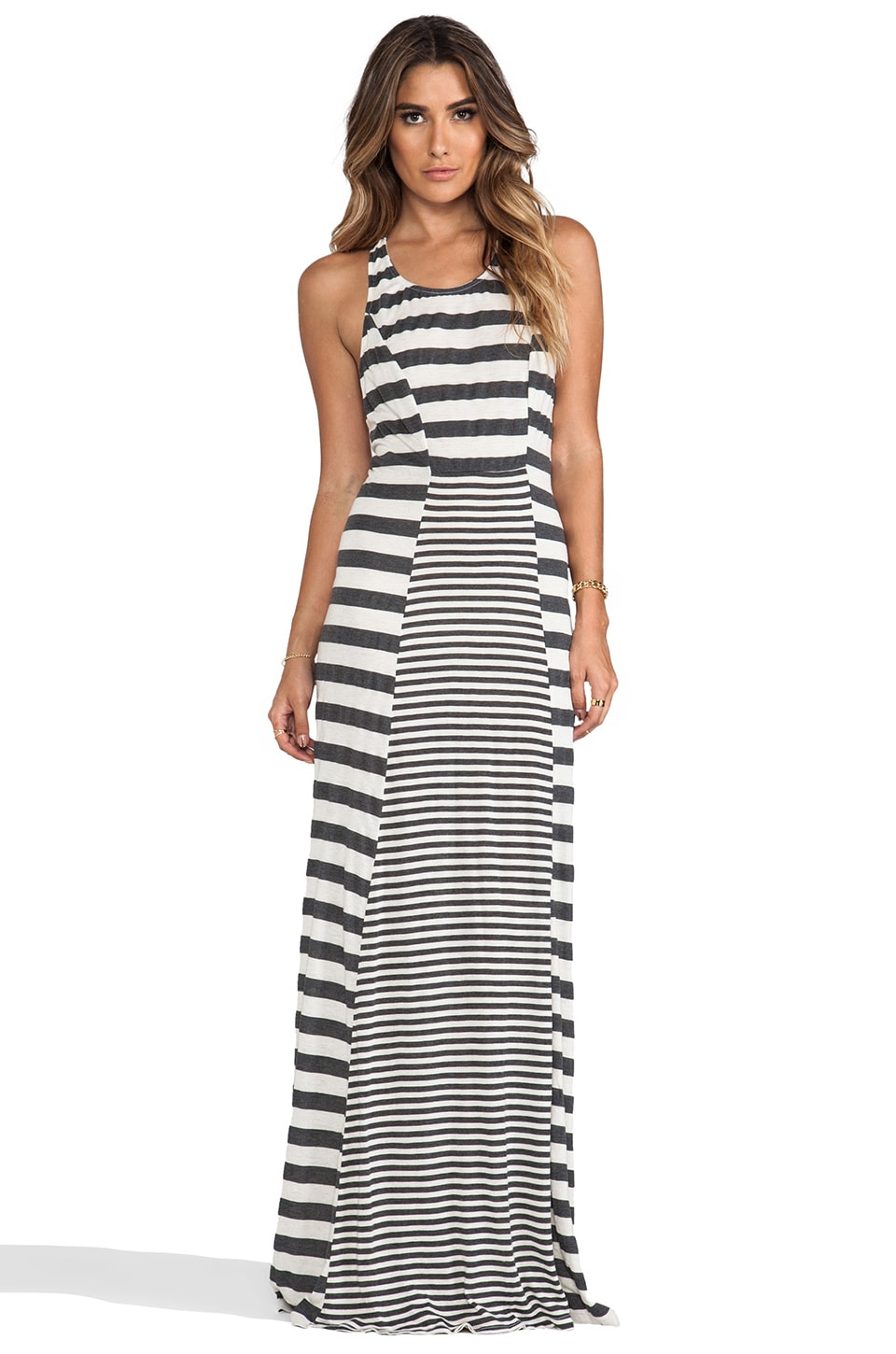 Gypsy 05 Saint Malo Knit Jersey Stripe Panel Maxi Tank Dress in Bisque