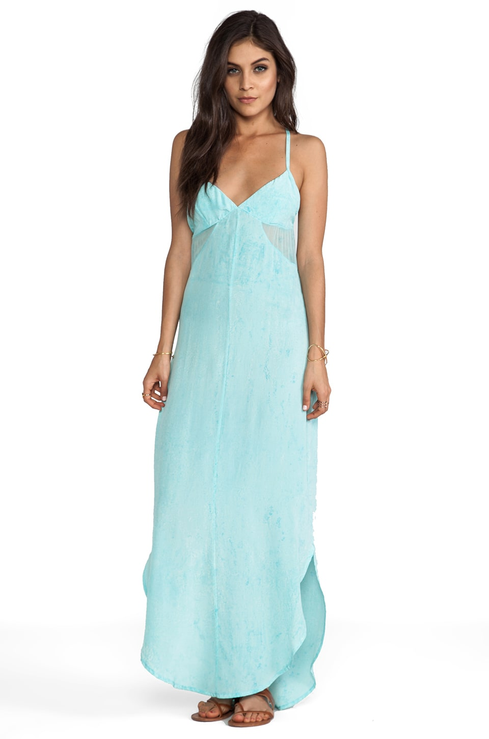 Gypsy 05 Soka Geo Cutout GGT V-Bottom Cami Maxi Dress in Pool