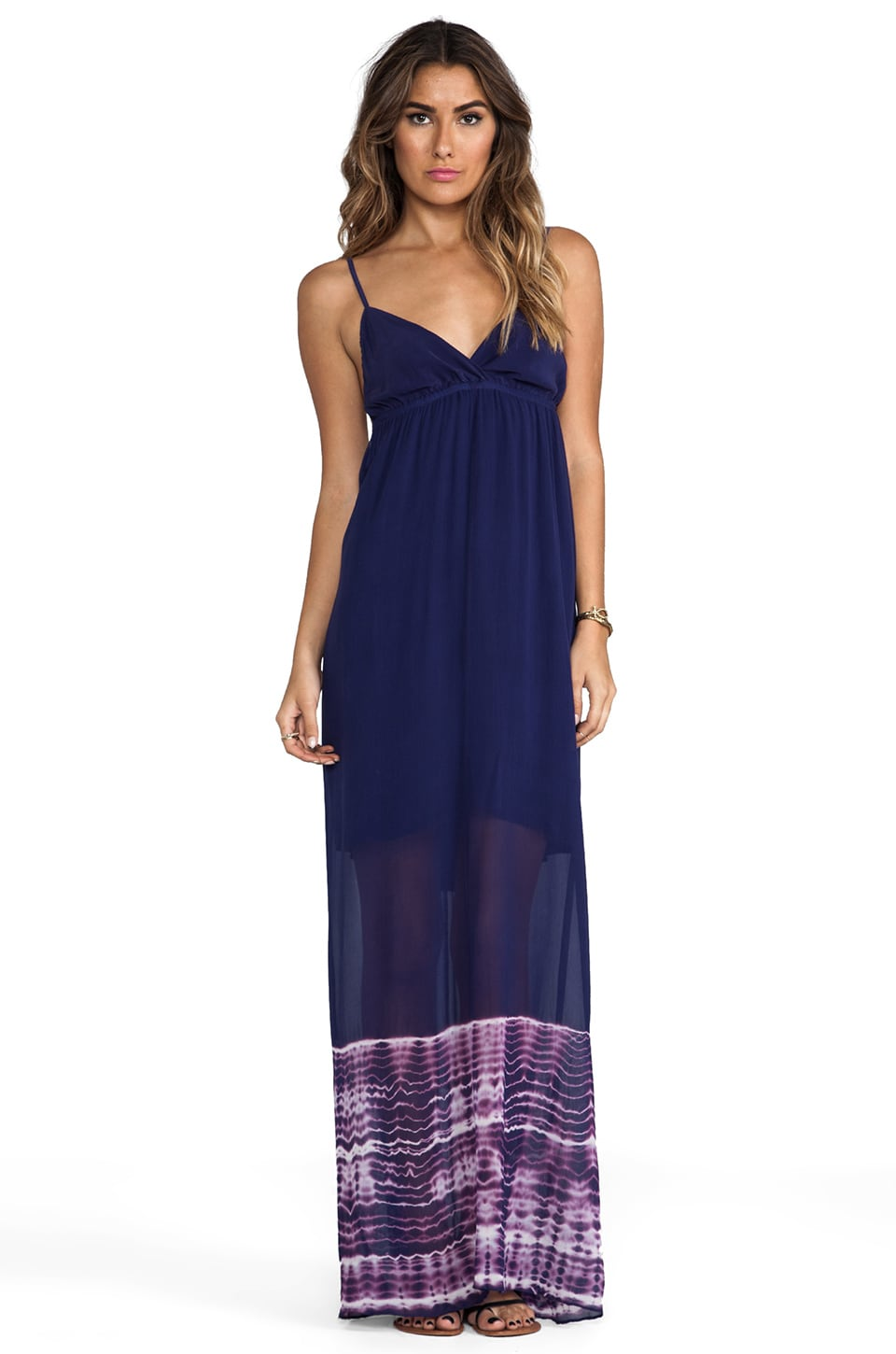 Gypsy 05 Foundation Spaghetti Alligator Maxi Dress in Midnight