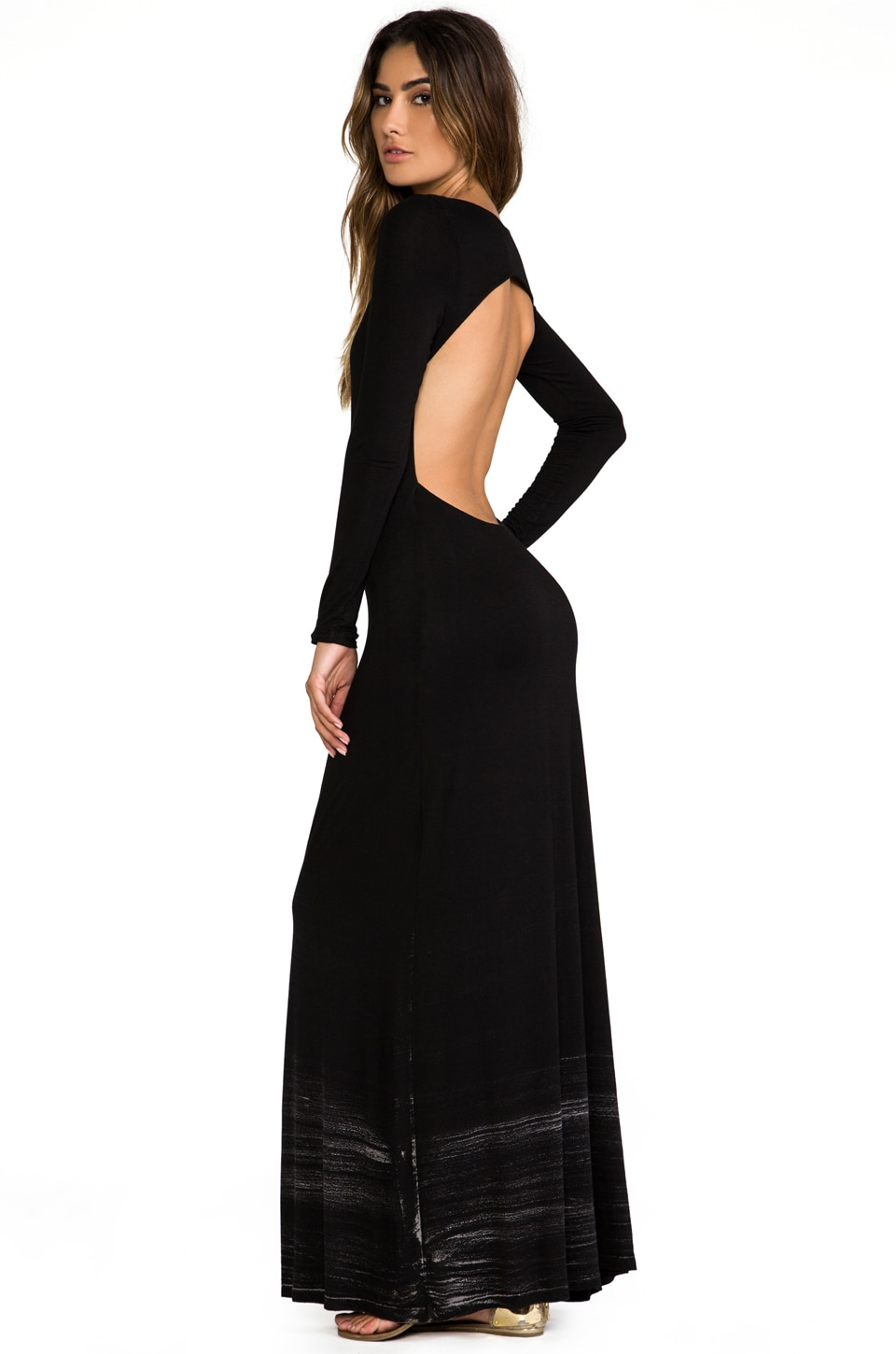 Gypsy 05 Long Sleeve Open Maxi Dress in Black