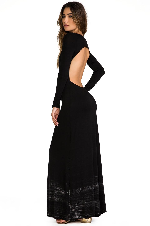 Gypsy 05 Long Sleeve Open Maxi Dress in Black