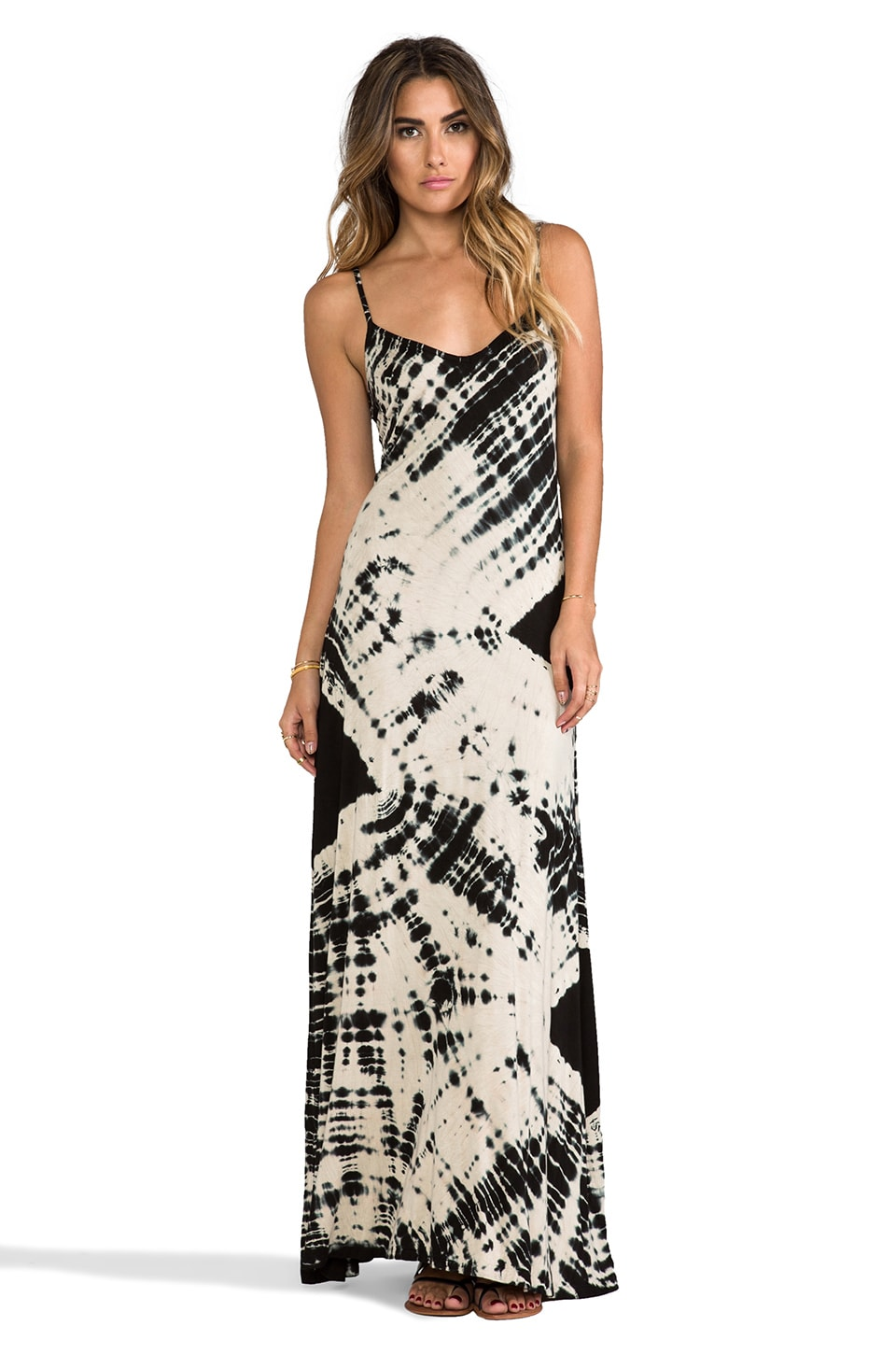 Gypsy 05 Deep V Maxi Dress in Black & Bone