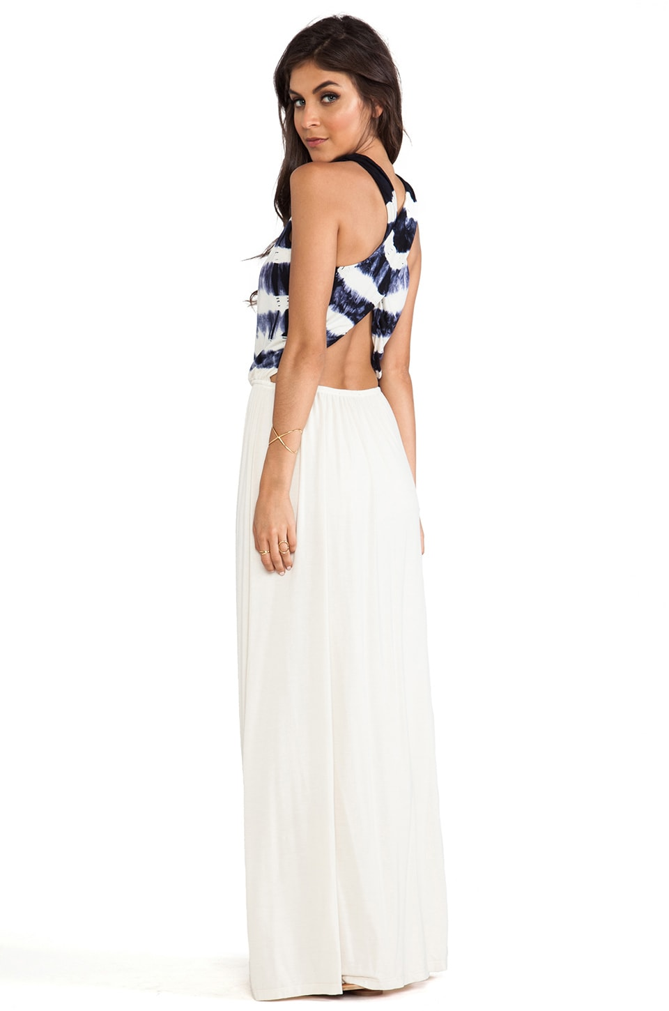 Gypsy 05 Cross Back Maxi Dress in Bone & Black