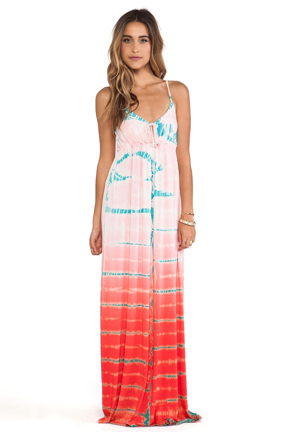 Gypsy 05 Empire Spaghetti Tie Maxi Dress in Kiss & Teal