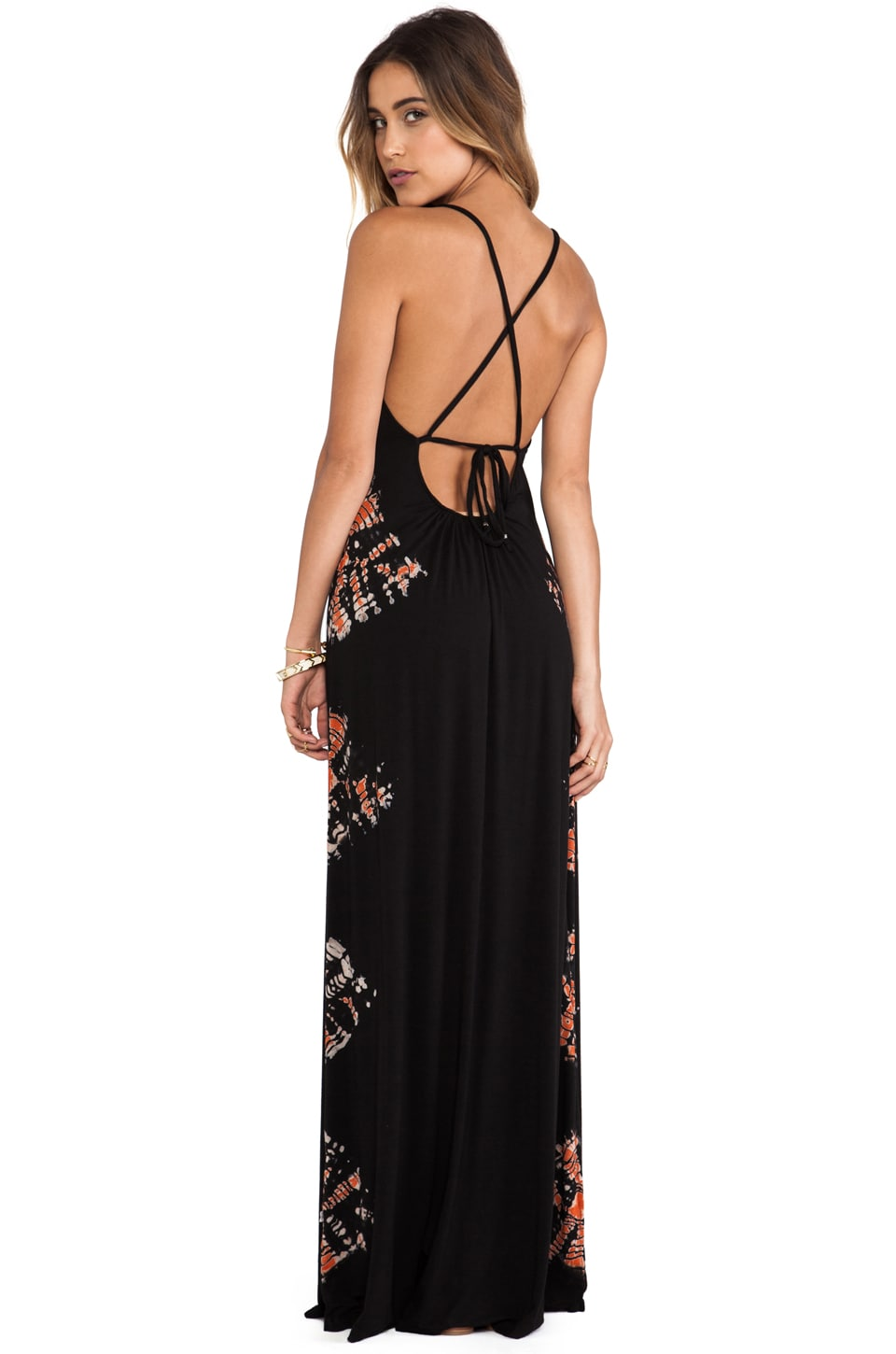 Gypsy 05 X Back Maxi Spaghetti Dress in Black & Red