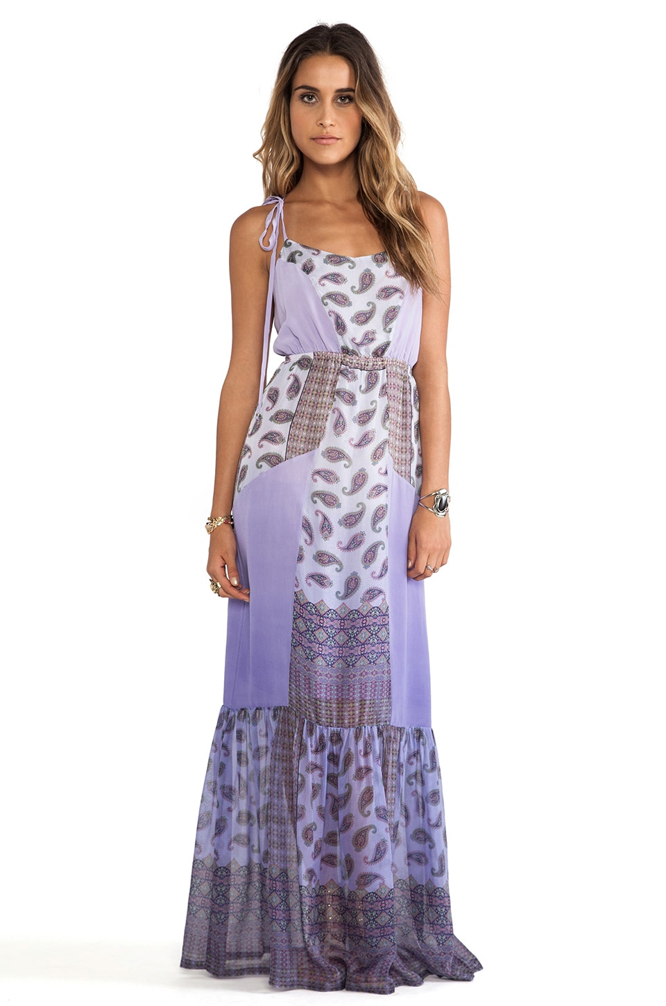 Gypsy 05 Printed Chiffon Panel Maxi Dress in Lavender