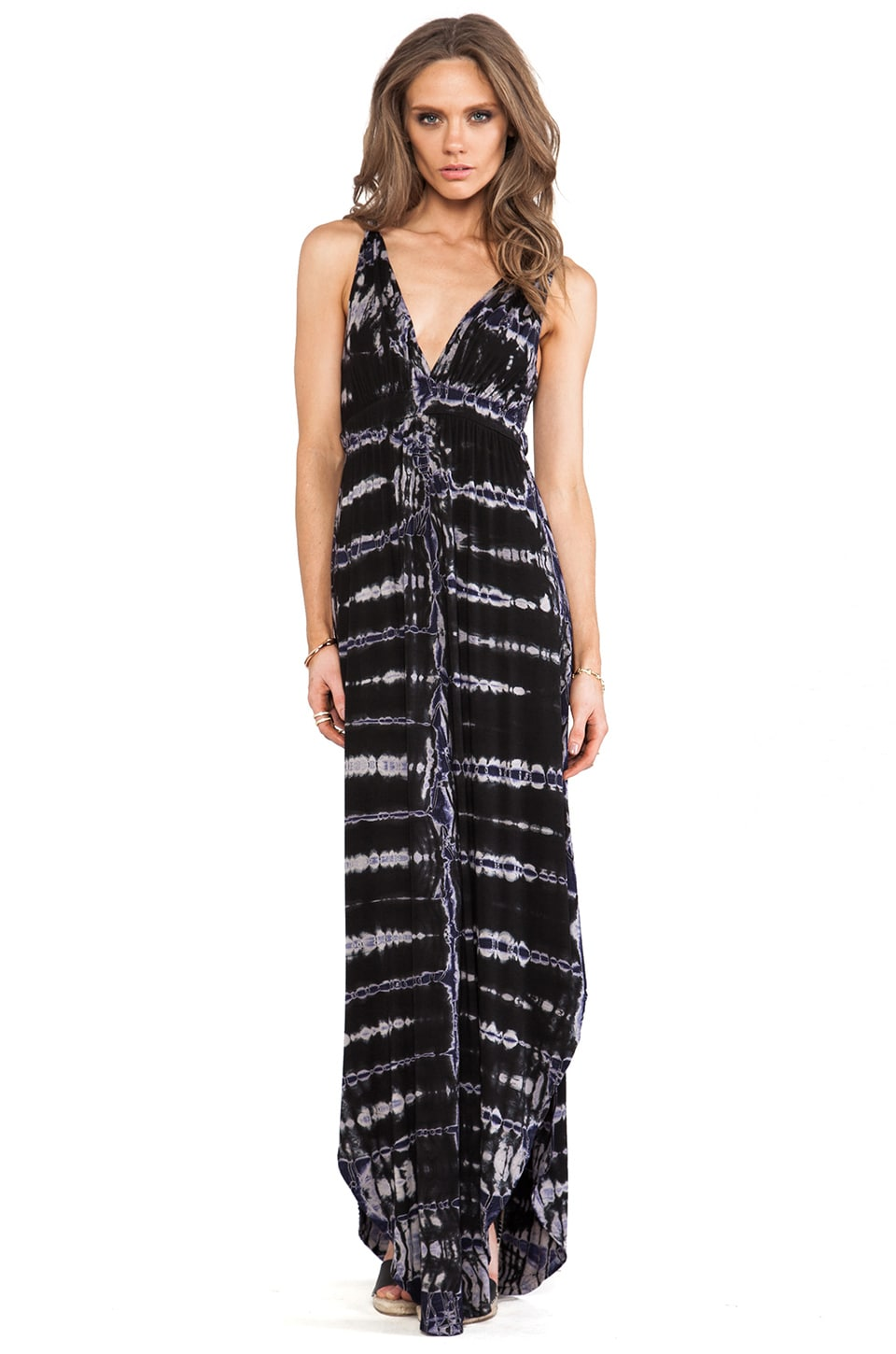 Gypsy 05 Backless Maxi Dress in Black & Blue