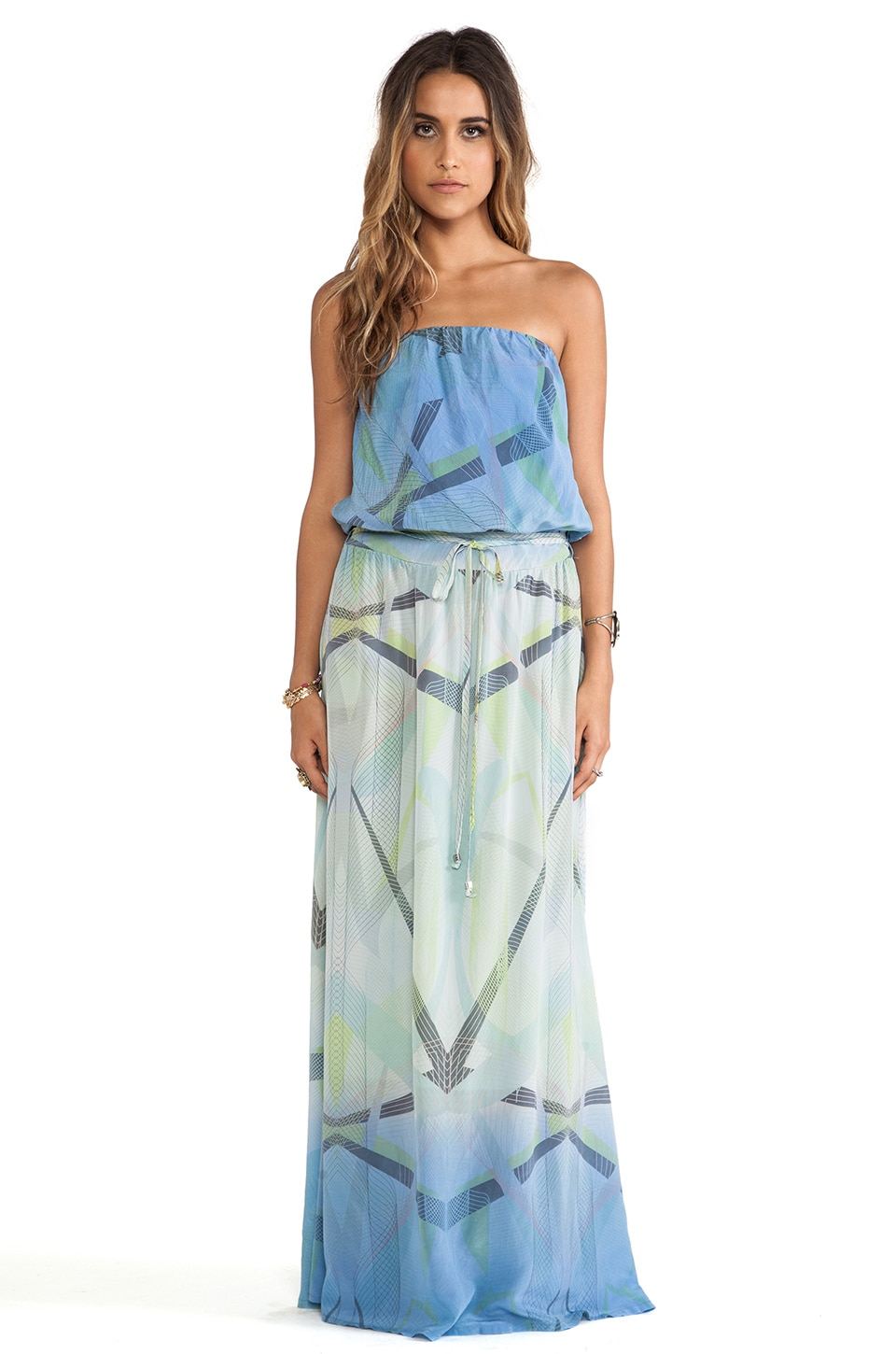 Gypsy 05 Printed Silk Tube Maxi Dress in Lavender