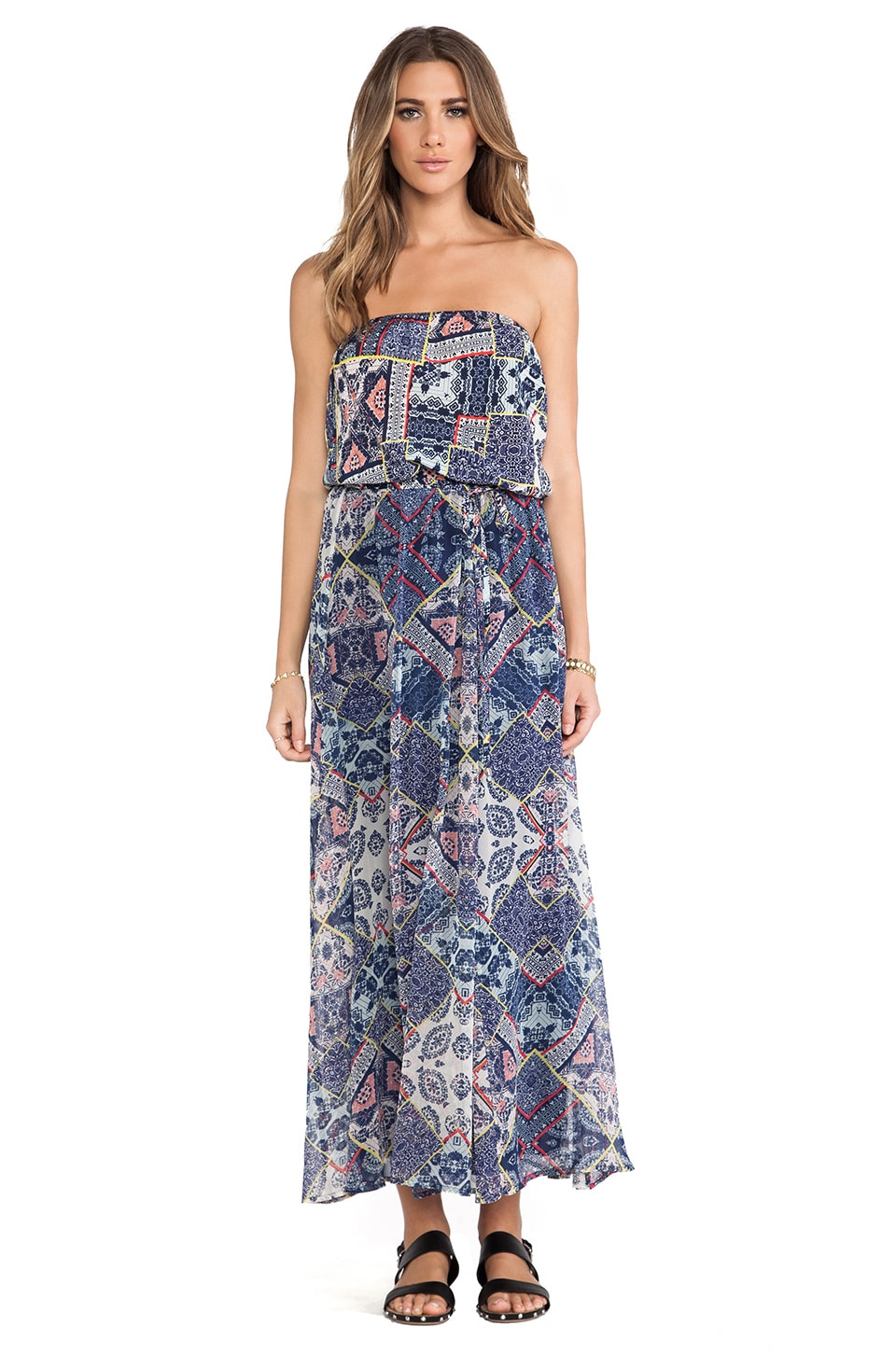 Gypsy 05 Adari Printed Silk Tube Maxi Dress in Blue Multi