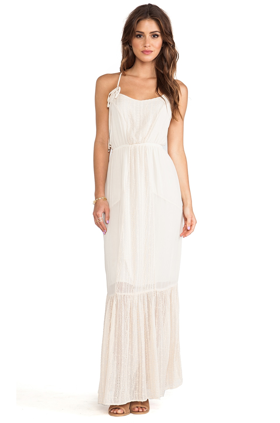Gypsy 05 Ara Embroidered Panel Maxi Dress in Ivory
