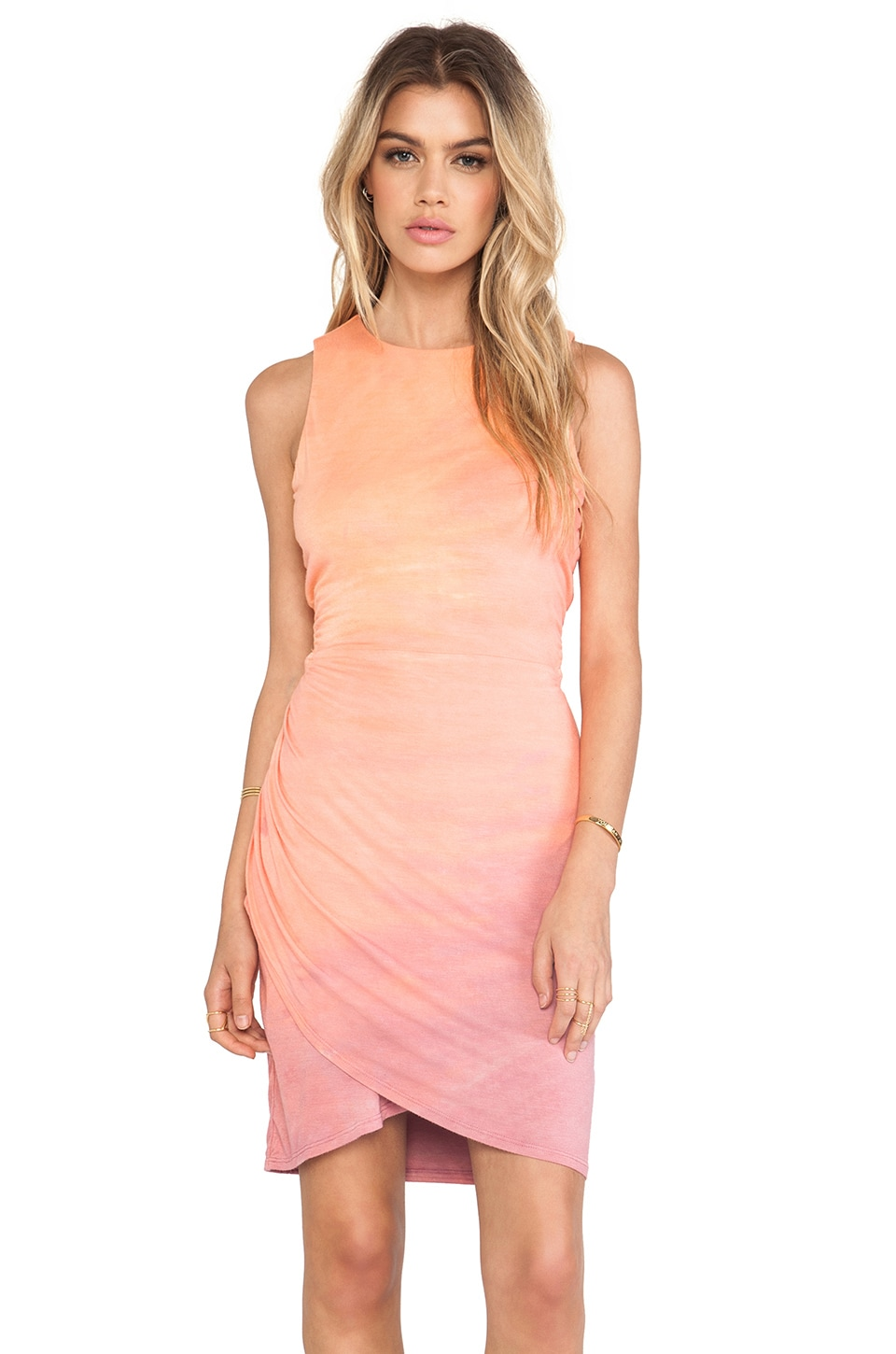 Gypsy 05 Desouk Wrap Dress in Peach & Rose