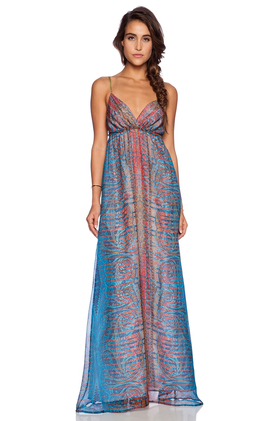 Gypsy 05 Printed Spaghetti Strap Maxi Dress in Prismatic Blue ...