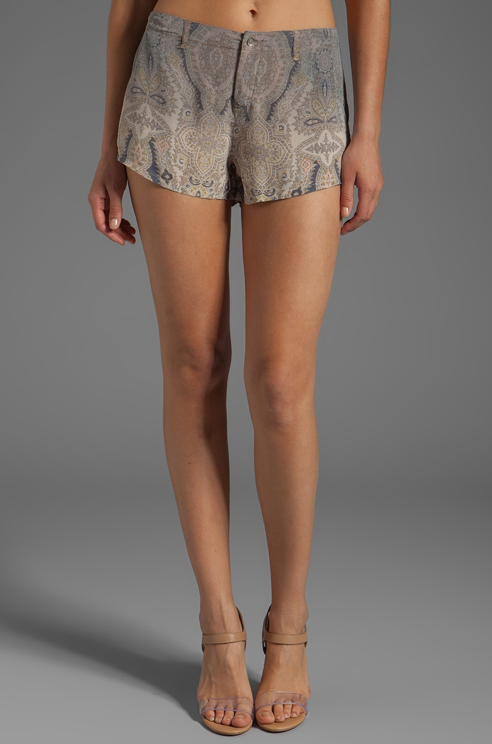 Gypsy 05 Nusa Dua Silk Flat Front Paisley Short in Smoke