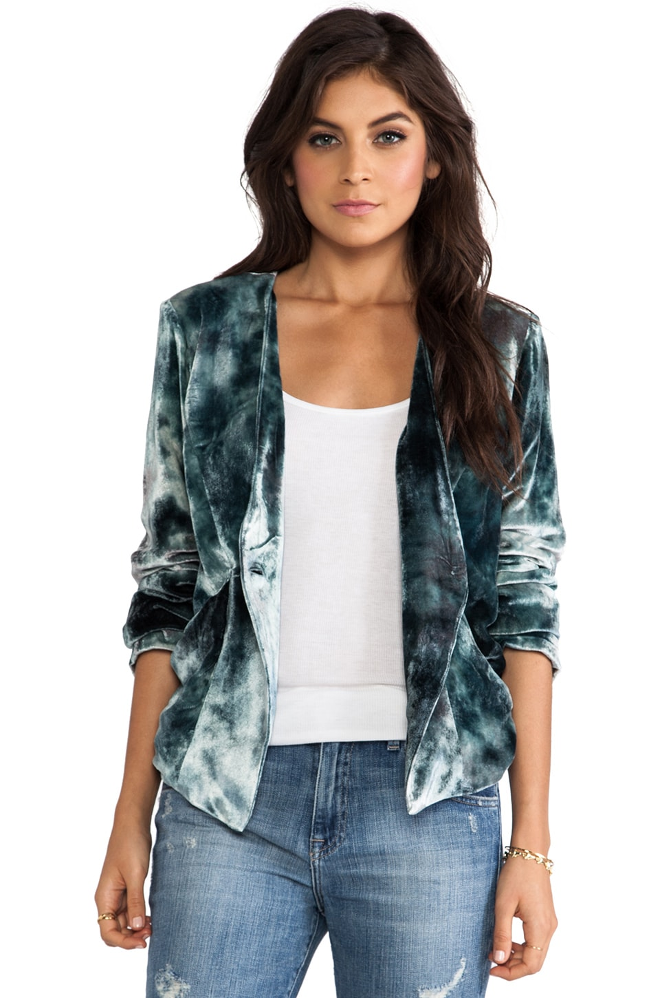 Gypsy 05 Velvet Panel Blazer in Overcast