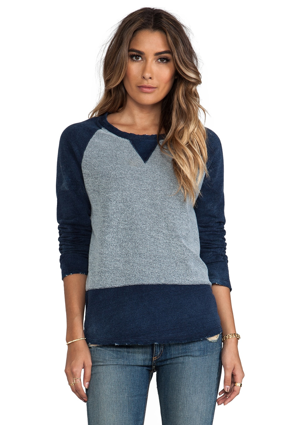 Gypsy 05 Long Sleeve Raglan Sweater in Washed Indigo