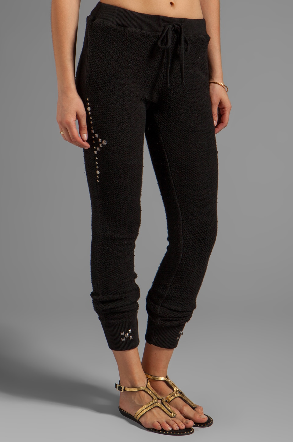 Gypsy 05 Foundation Chunky Loop Terry Pant With Rib in Black