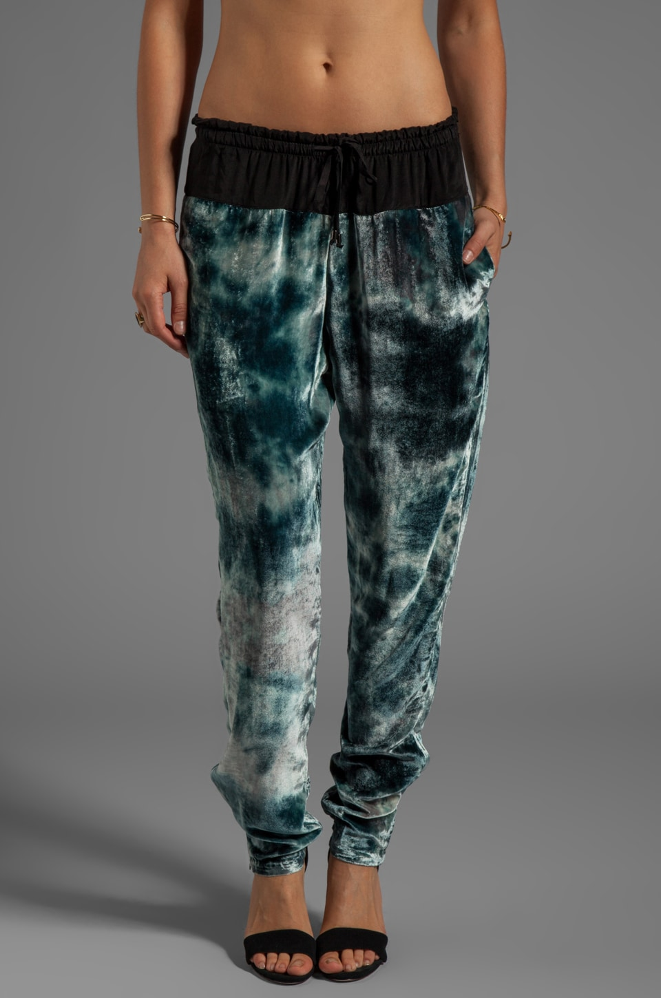 Gypsy 05 Velvet Tapered Drawstring Pant in Overcast