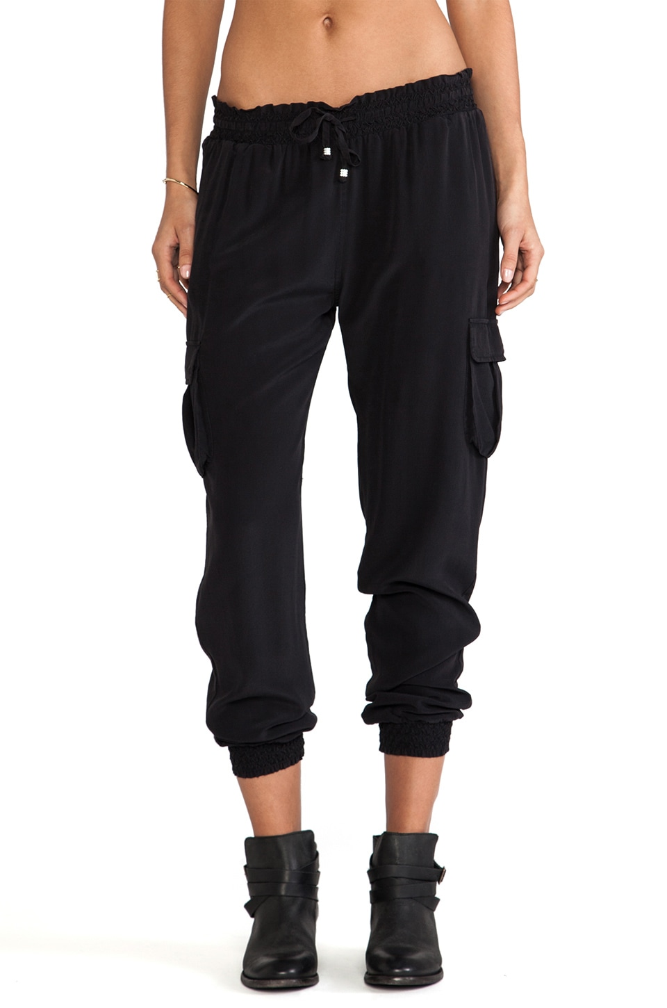 Gypsy 05 Smoked Silk Drawstring Waist Pants in Black