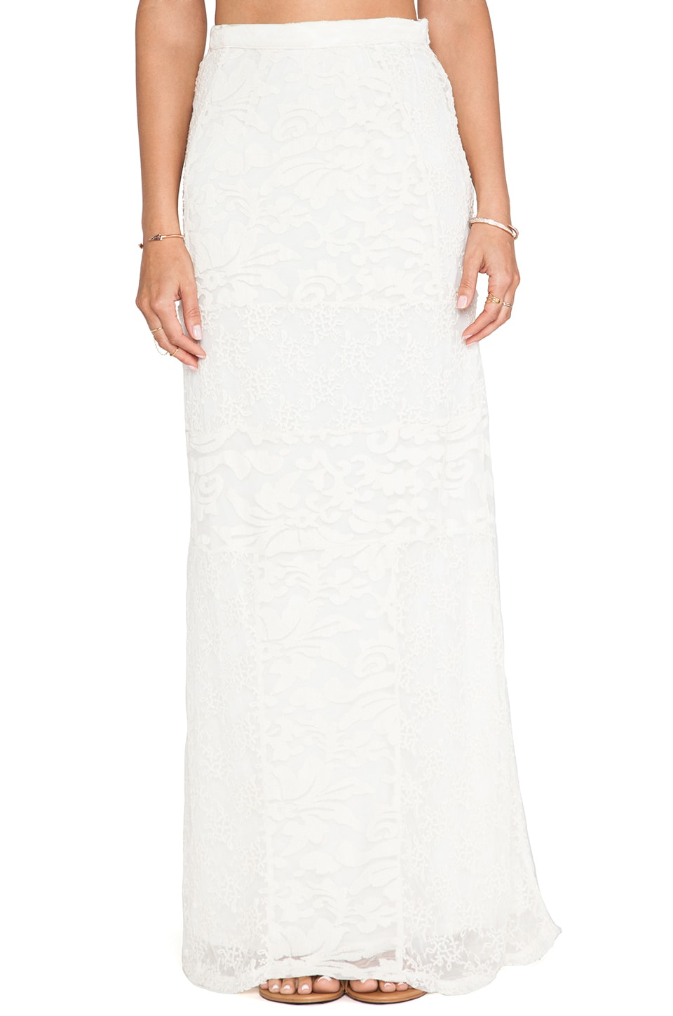 Gypsy 05 Embroidered Panel Maxi Skirt in Natural