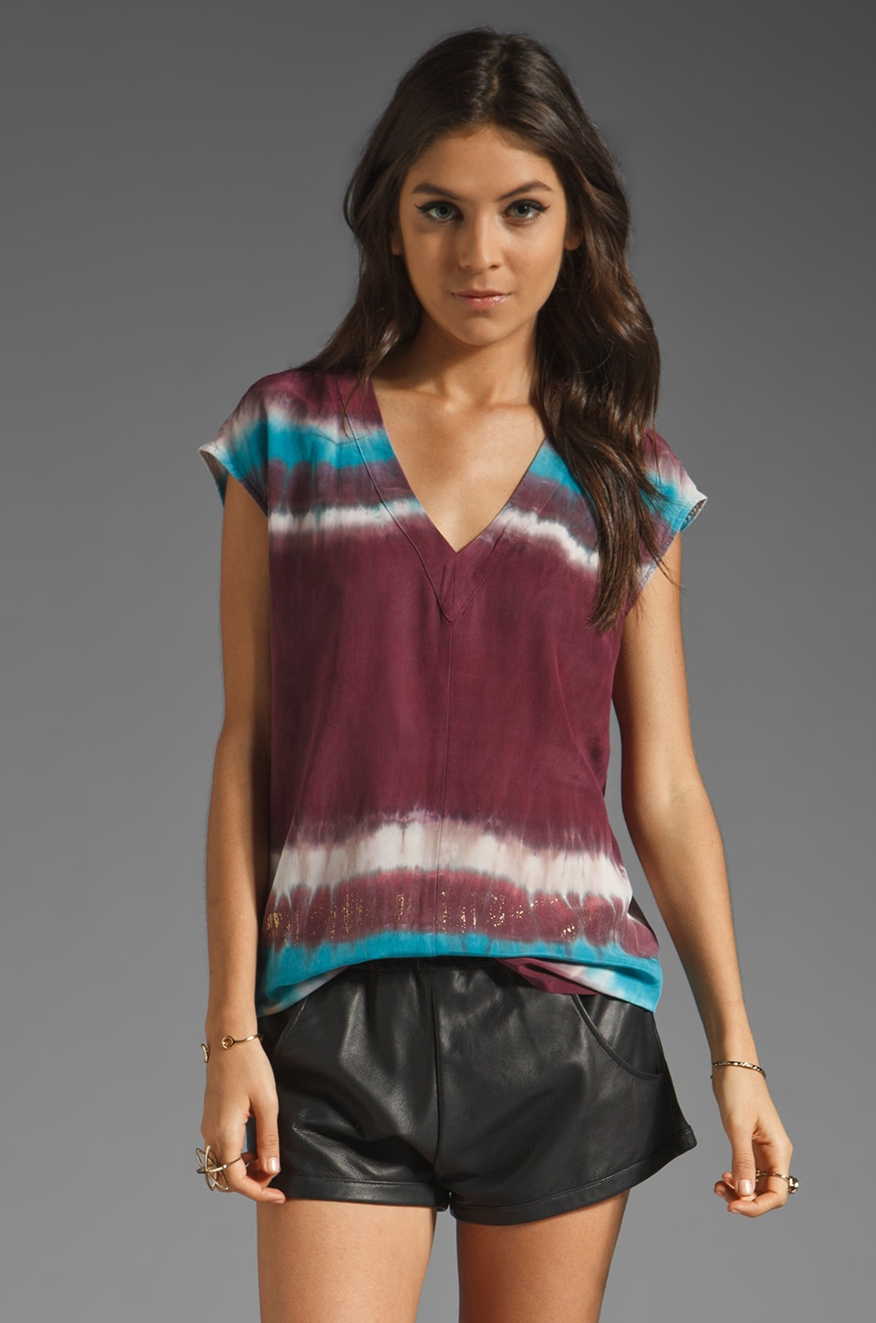 Gypsy 05 Bianca Short Sleeve Top in Burgundy