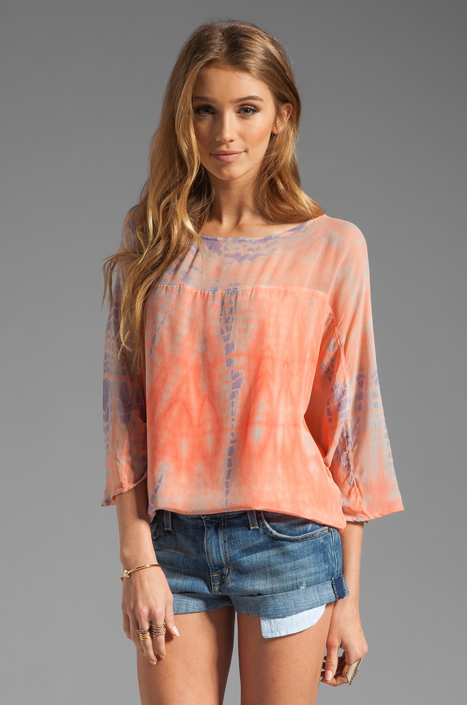 Gypsy 05 Emily L/S Silk Georgette Dolman Top w/ Back Keyhole in Peach