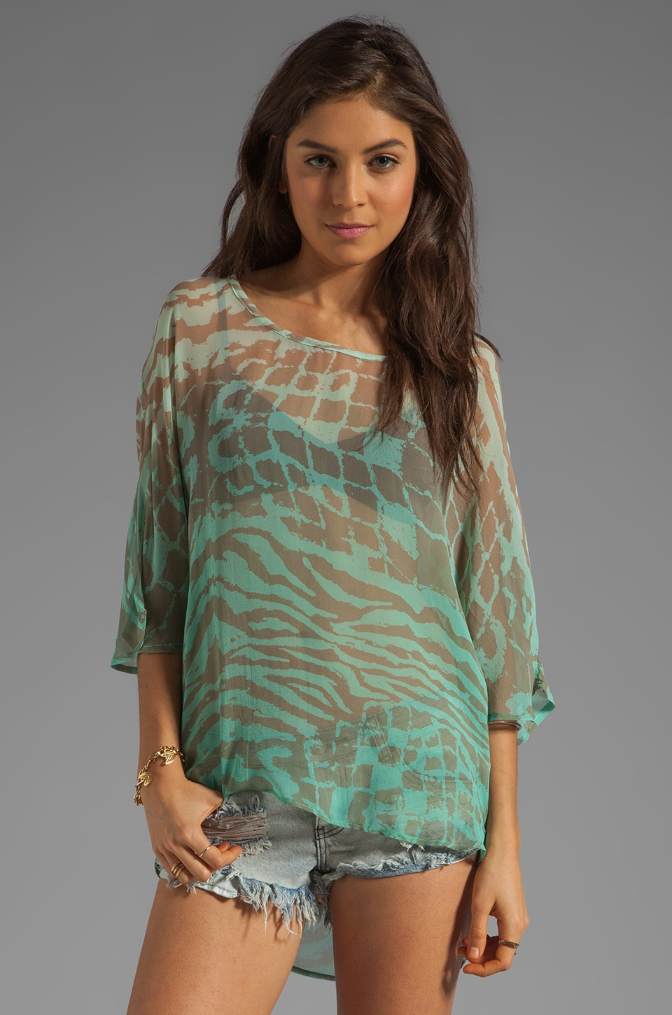 Gypsy 05 Joanna Boatneck Dolman Top in Turquoise