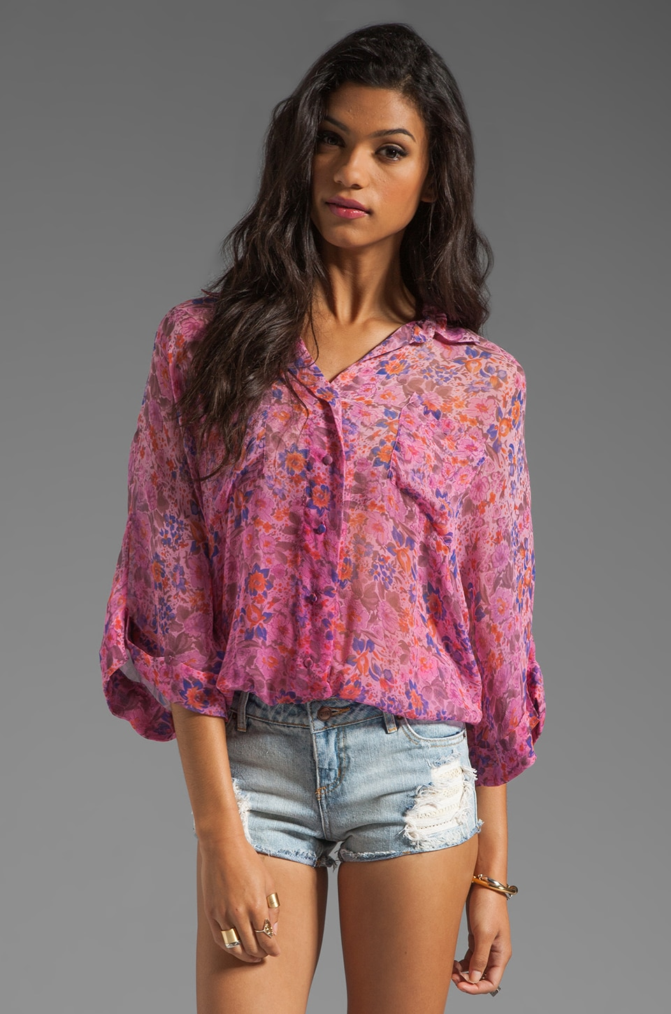 Gypsy 05 Cambridge Floral Print S/S Button Front Oversized Blouse in Rose